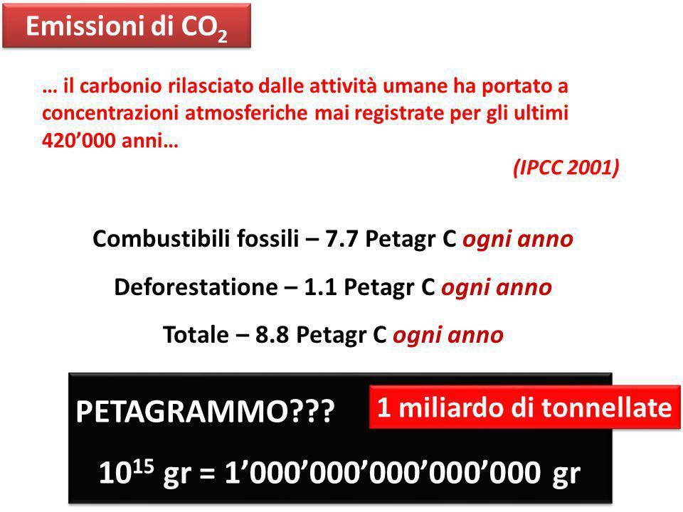 PETAGRAMMO 1015 gr = 1'000'000'000'000'000 gr Emissioni di CO2