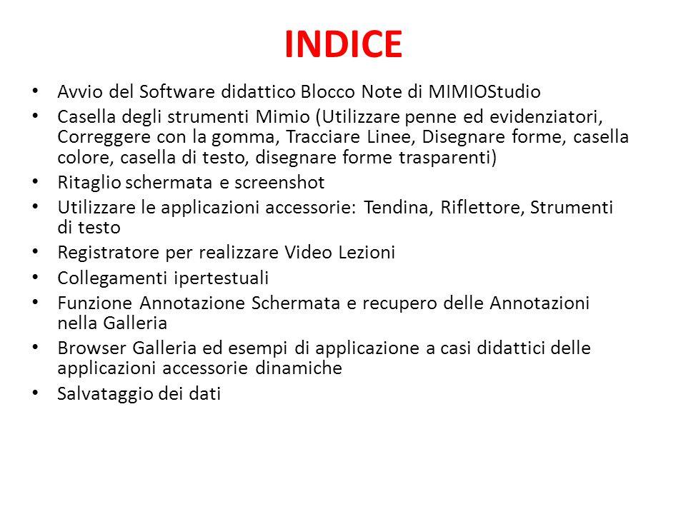 INDICE Avvio del Software didattico Blocco Note di MIMIOStudio
