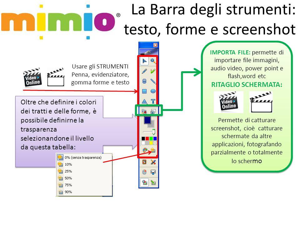 La Barra degli strumenti: testo, forme e screenshot