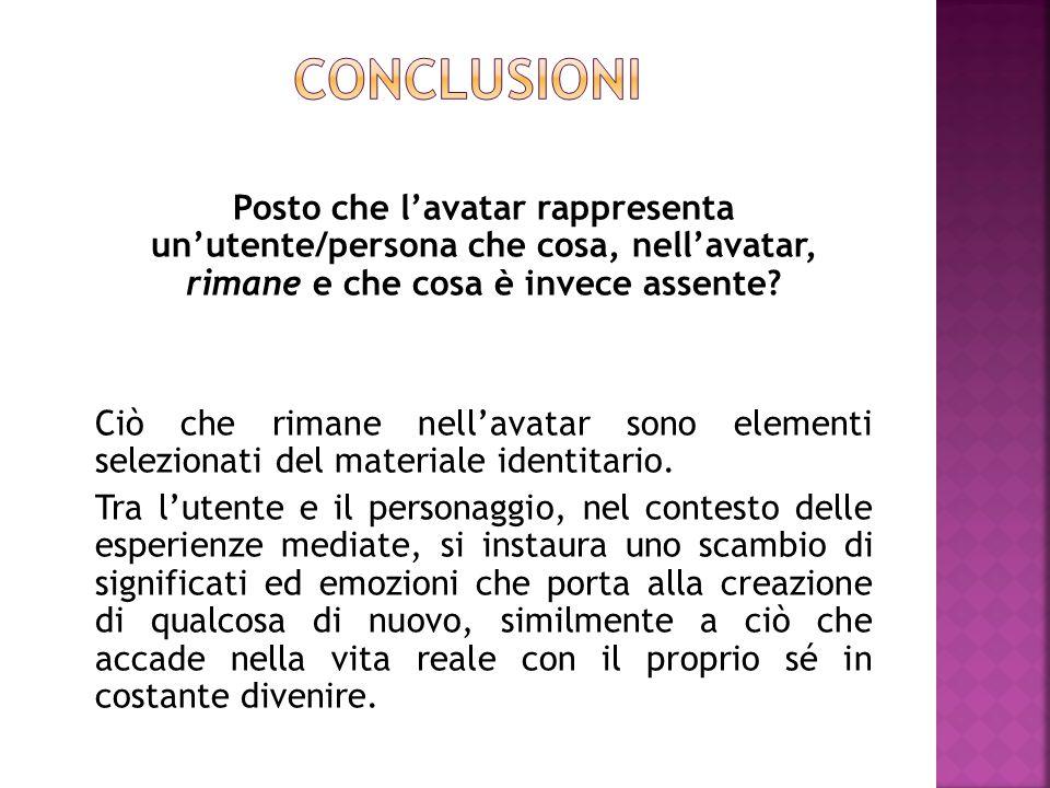 conclusioni Posto che l'avatar rappresenta un'utente/persona che cosa, nell'avatar, rimane e che cosa è invece assente