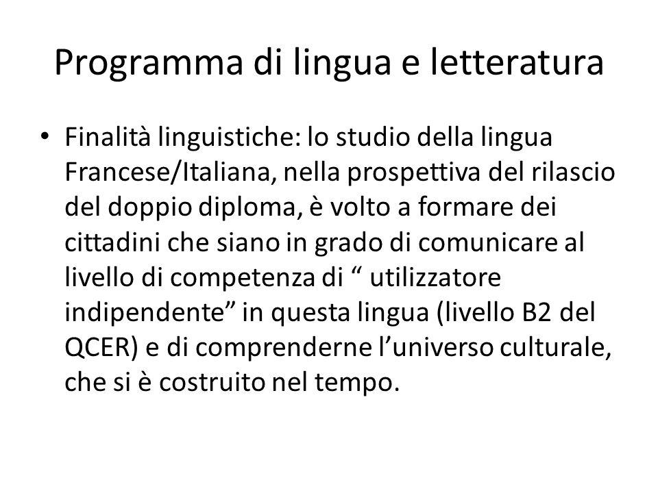 Programma di lingua e letteratura