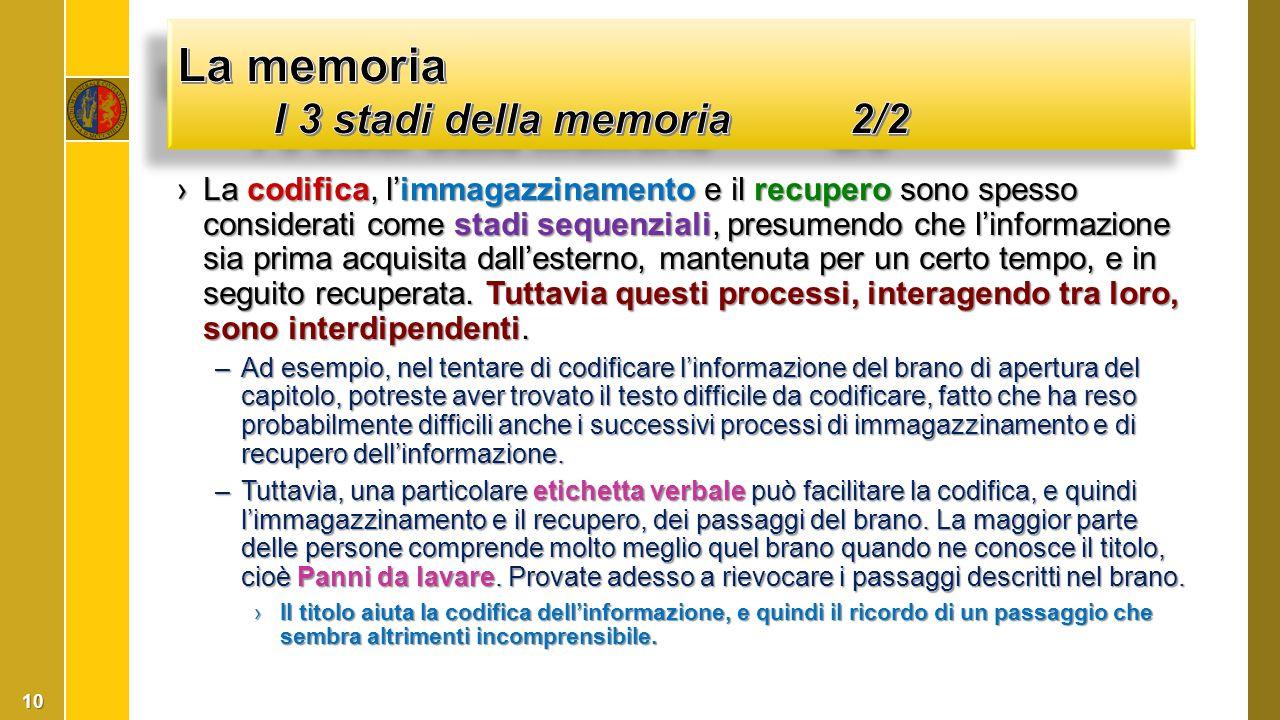 La memoria I 3 stadi della memoria 2/2