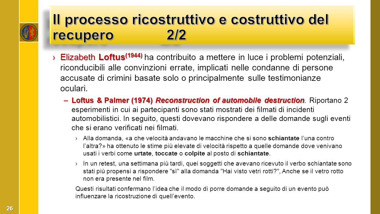 Il processo ricostruttivo e costruttivo del recupero 2/2