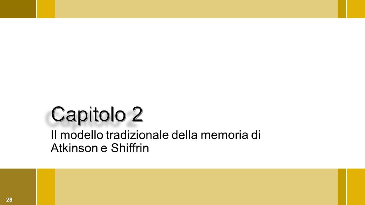 Capitolo 2 Il modello tradizionale della memoria di Atkinson e Shiffrin
