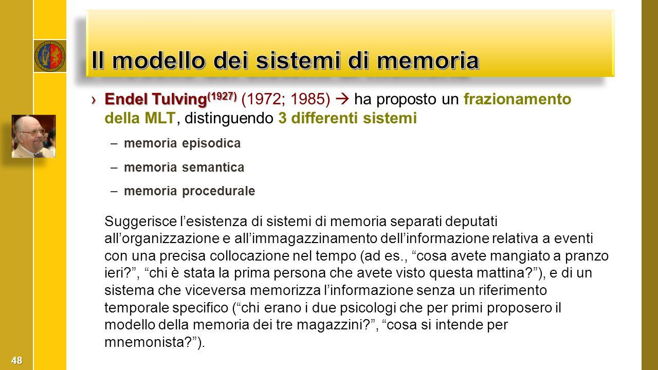 Il modello dei sistemi di memoria