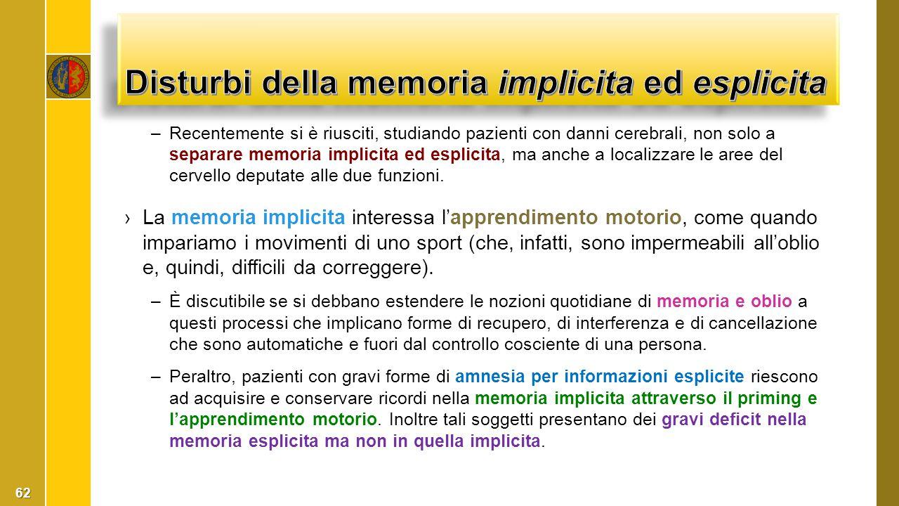 Disturbi della memoria implicita ed esplicita
