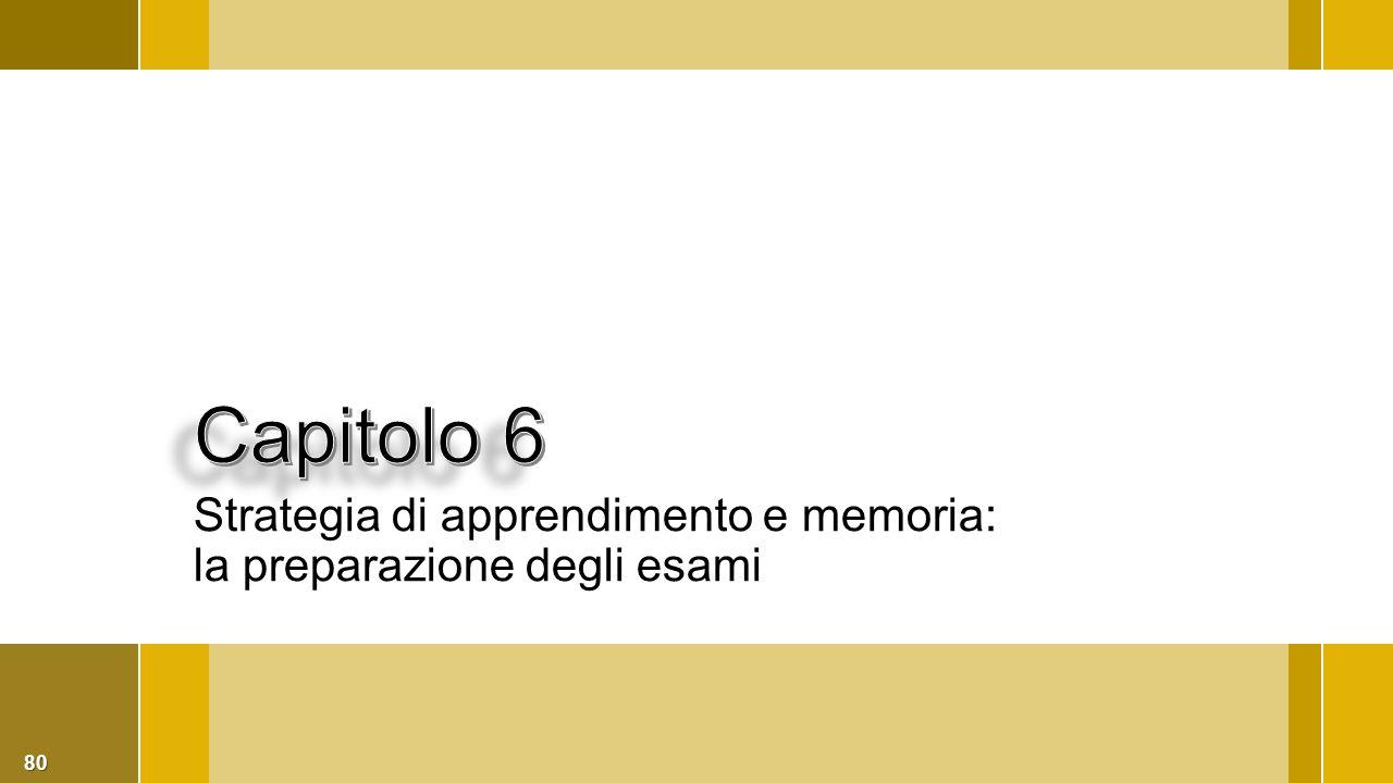 Capitolo 6 Strategia di apprendimento e memoria: la preparazione degli esami