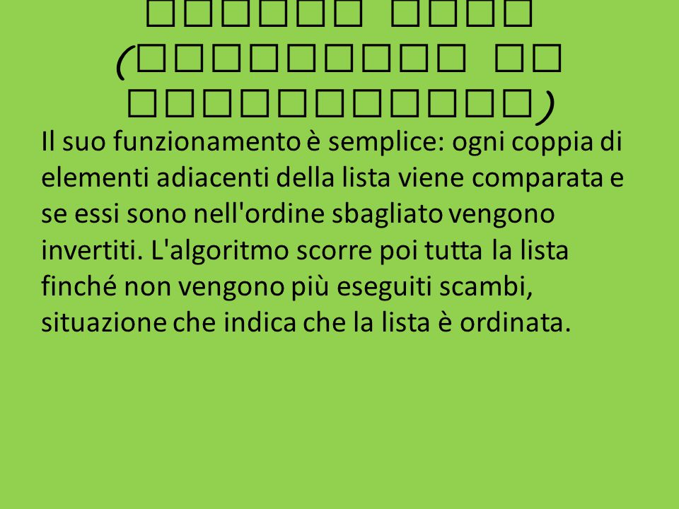 Bubble sort (algoritmo di ordinamento)