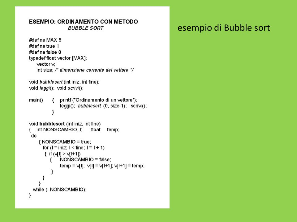es esempio di Bubble sort