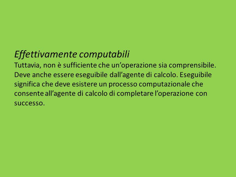 Effettivamente computabili Tuttavia, non è sufficiente che un'operazione sia comprensibile.
