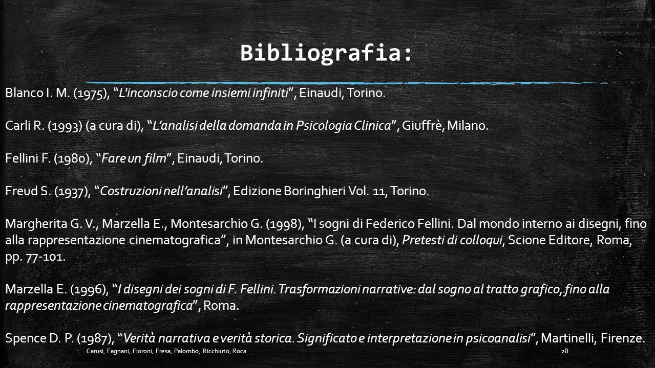Bibliografia: Blanco I. M. (1975), L inconscio come insiemi infiniti , Einaudi, Torino.