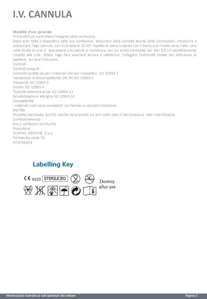 I.V. CANNULA Modalità d'uso generale