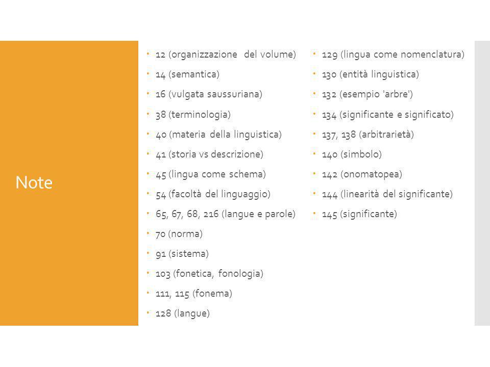 Note 12 (organizzazione del volume) 129 (lingua come nomenclatura)