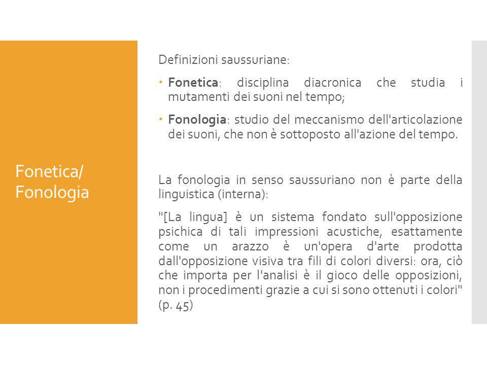 Fonetica/ Fonologia Definizioni saussuriane: