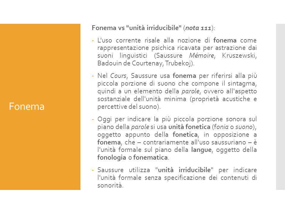 Fonema Fonema vs unità irriducibile (nota 111):