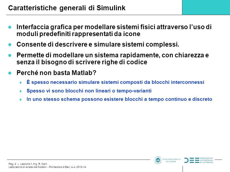 Caratteristiche generali di Simulink