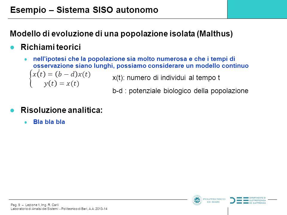 Esempio – Sistema SISO autonomo