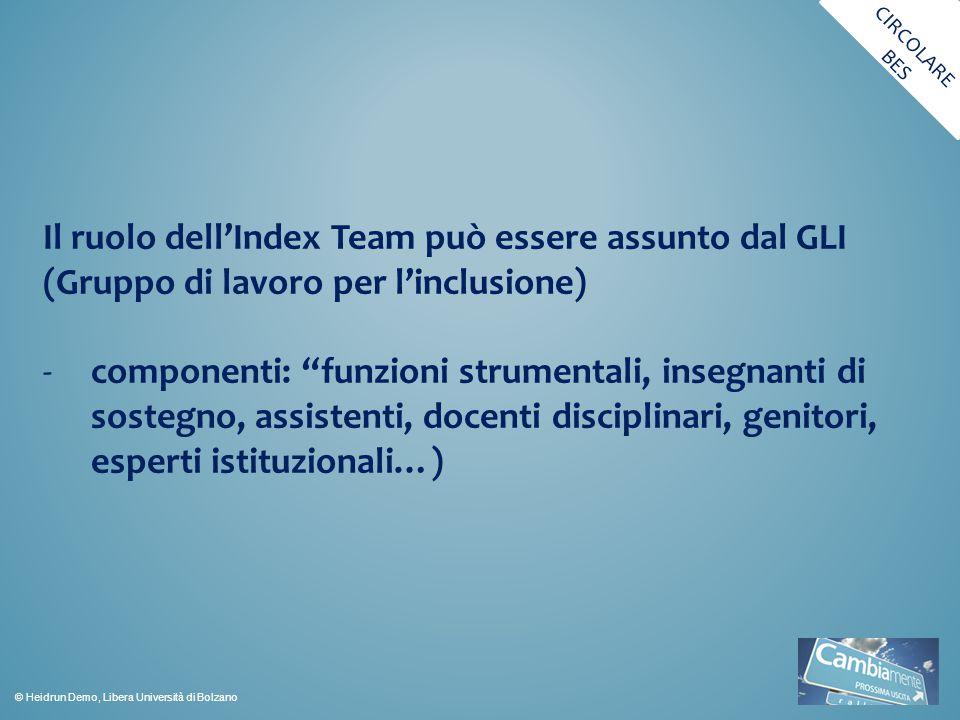 CIRCOLARE BES. Il ruolo dell'Index Team può essere assunto dal GLI (Gruppo di lavoro per l'inclusione)