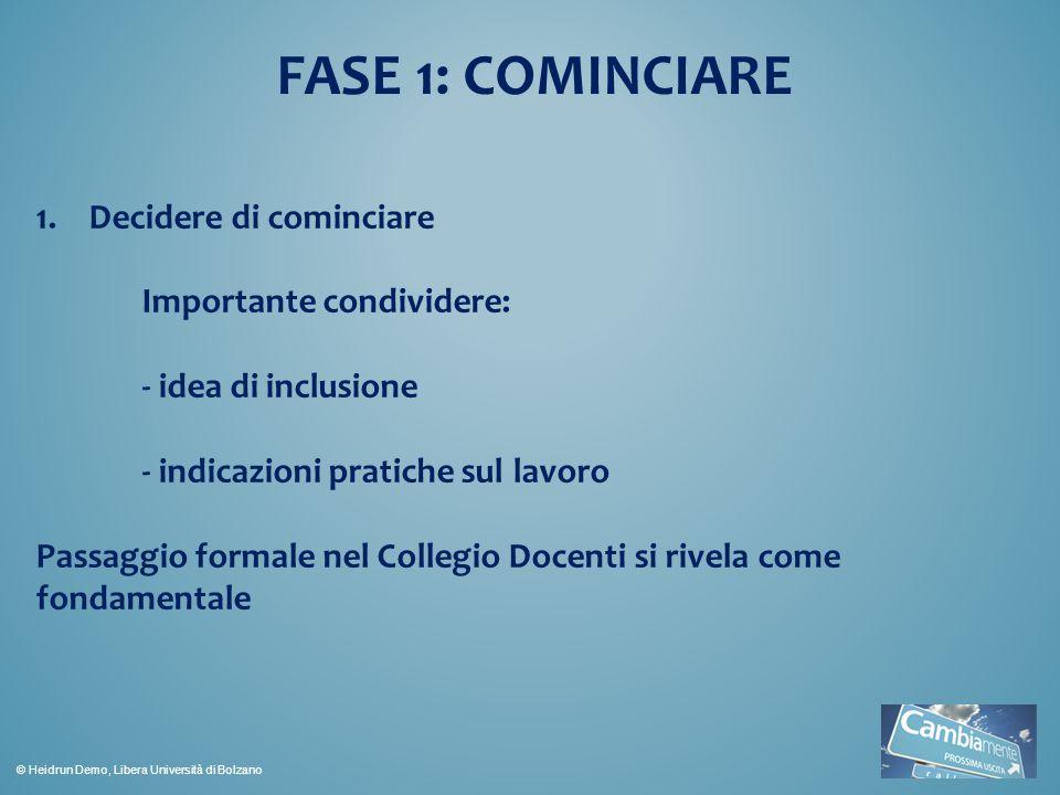 FASE 1: COMINCIARE Decidere di cominciare Importante condividere: