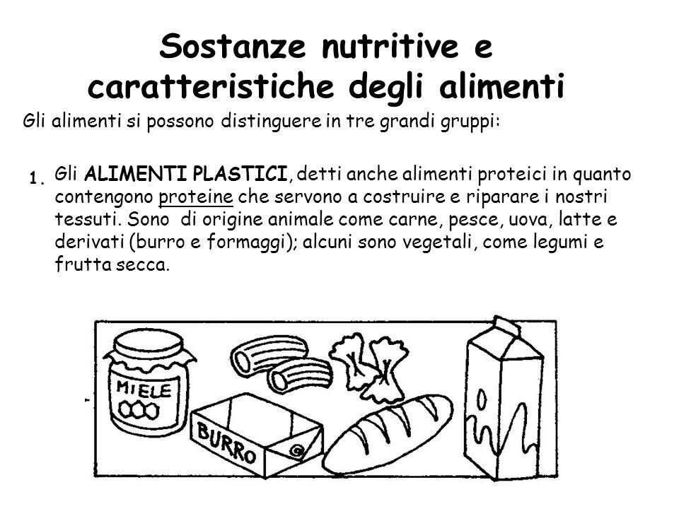 Sostanze nutritive e caratteristiche degli alimenti