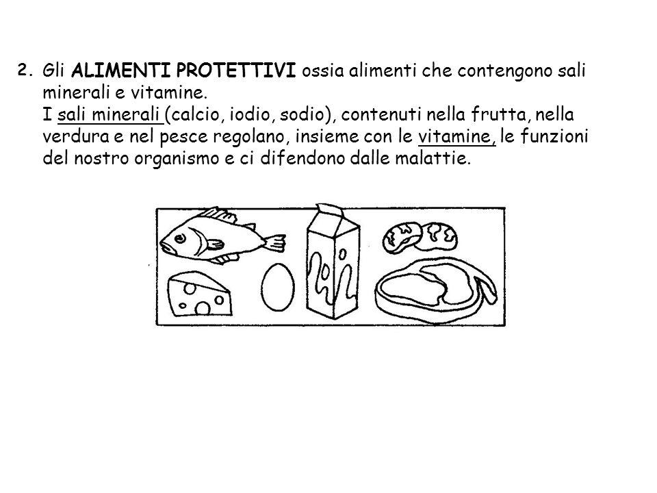 2. Gli ALIMENTI PROTETTIVI ossia alimenti che contengono sali minerali e vitamine.