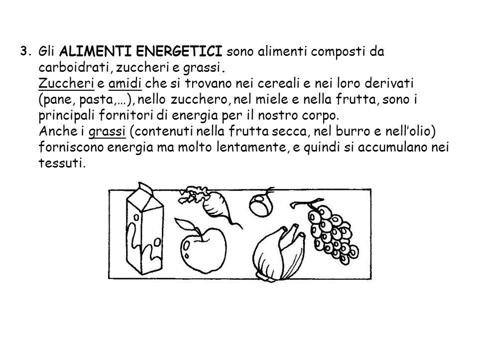 3. Gli ALIMENTI ENERGETICI sono alimenti composti da carboidrati, zuccheri e grassi.