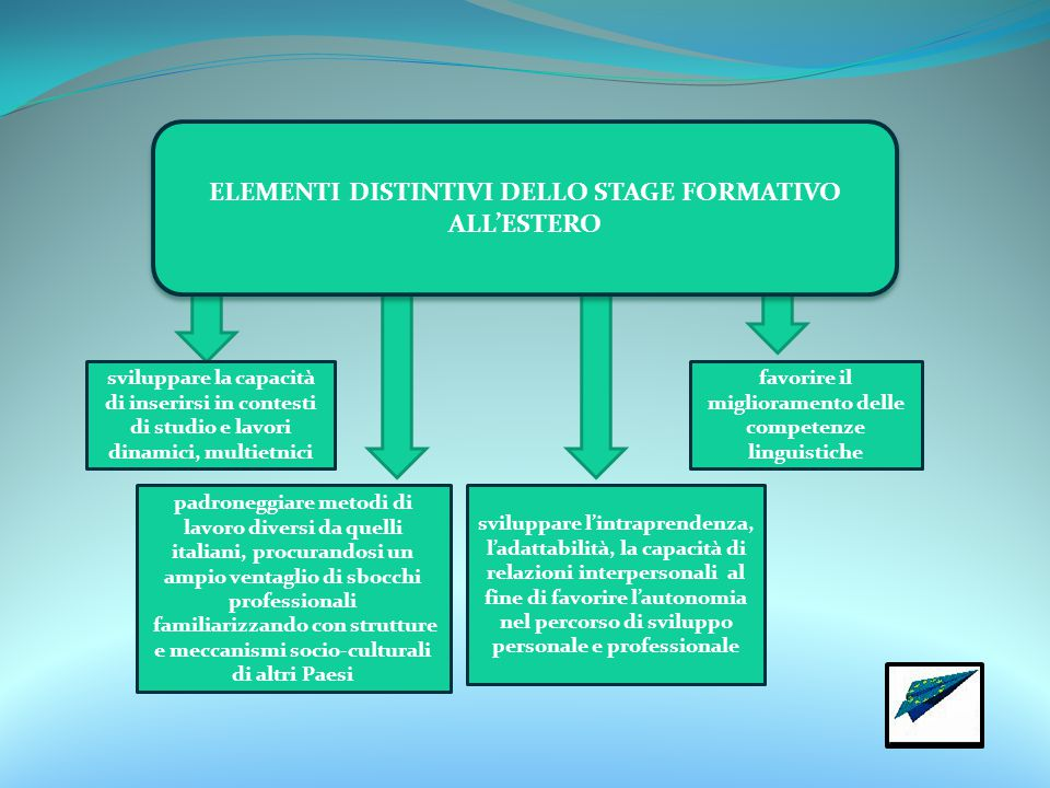 ELEMENTI DISTINTIVI DELLO STAGE FORMATIVO ALL'ESTERO