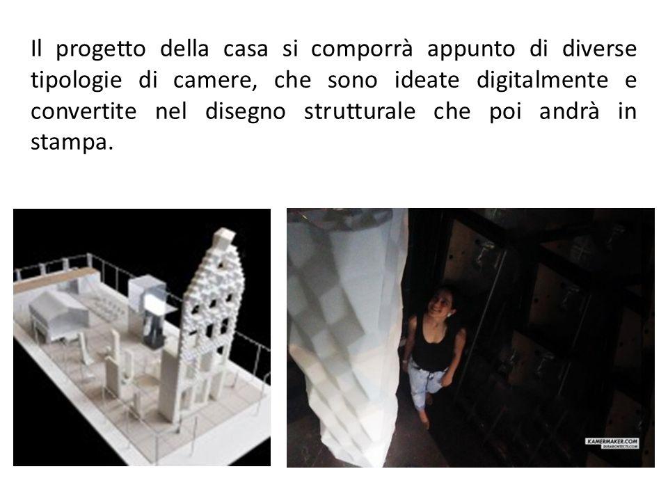 Il progetto della casa si comporrà appunto di diverse tipologie di camere, che sono ideate digitalmente e convertite nel disegno strutturale che poi andrà in stampa.