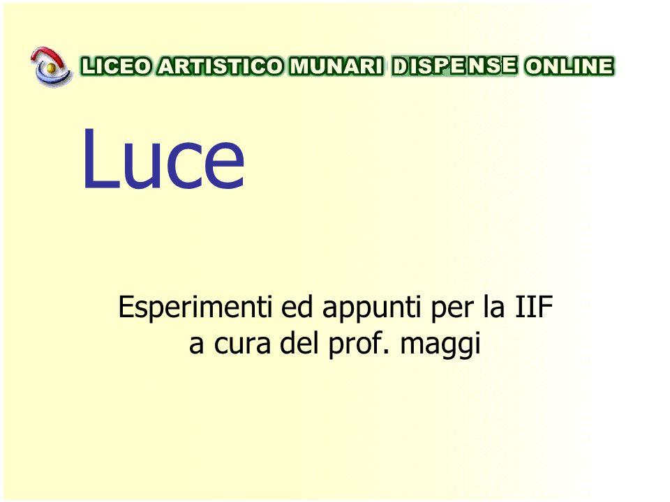Esperimenti ed appunti per la IIF a cura del prof. maggi