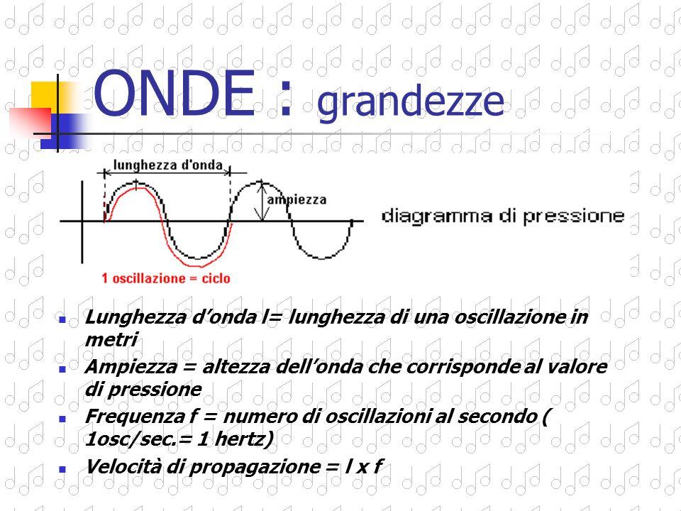 ONDE : grandezze Lunghezza d'onda l= lunghezza di una oscillazione in metri. Ampiezza = altezza dell'onda che corrisponde al valore di pressione.