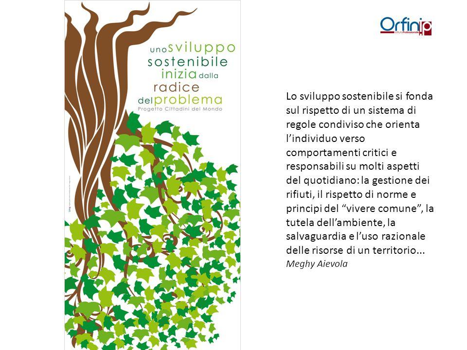 Lo sviluppo sostenibile si fonda sul rispetto di un sistema di regole condiviso che orienta l'individuo verso comportamenti critici e responsabili su molti aspetti del quotidiano: la gestione dei rifiuti, il rispetto di norme e principi del vivere comune , la tutela dell'ambiente, la salvaguardia e l'uso razionale delle risorse di un territorio...