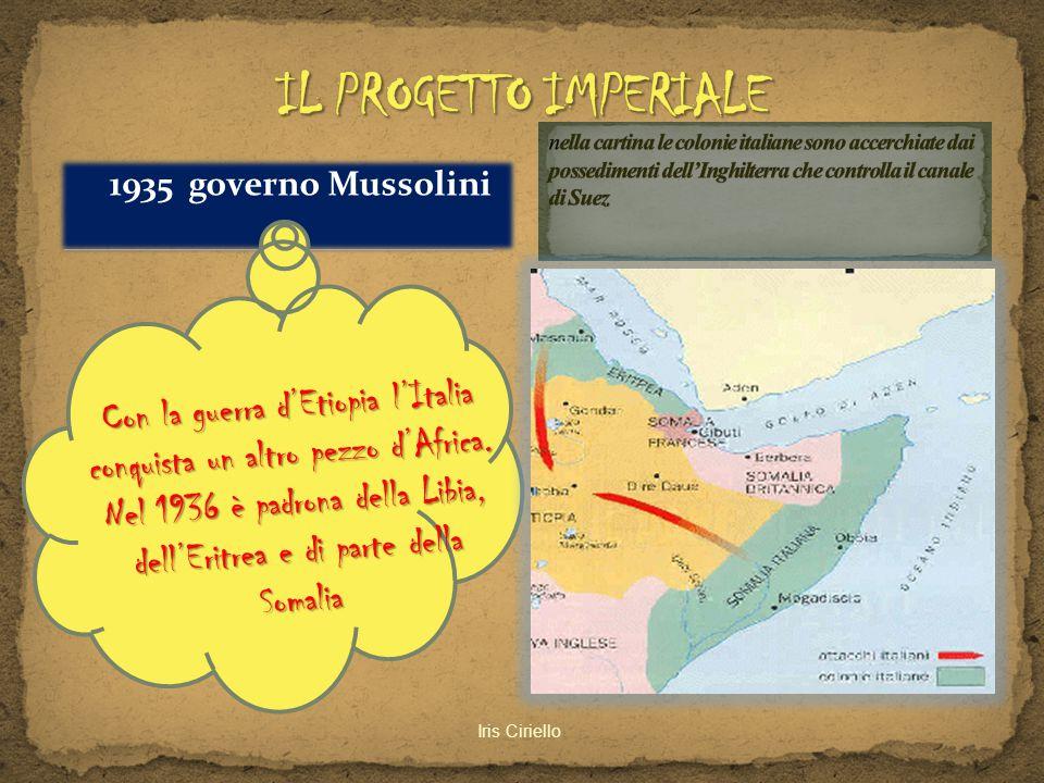 IL PROGETTO IMPERIALE nella cartina le colonie italiane sono accerchiate dai possedimenti dell'Inghilterra che controlla il canale di Suez.