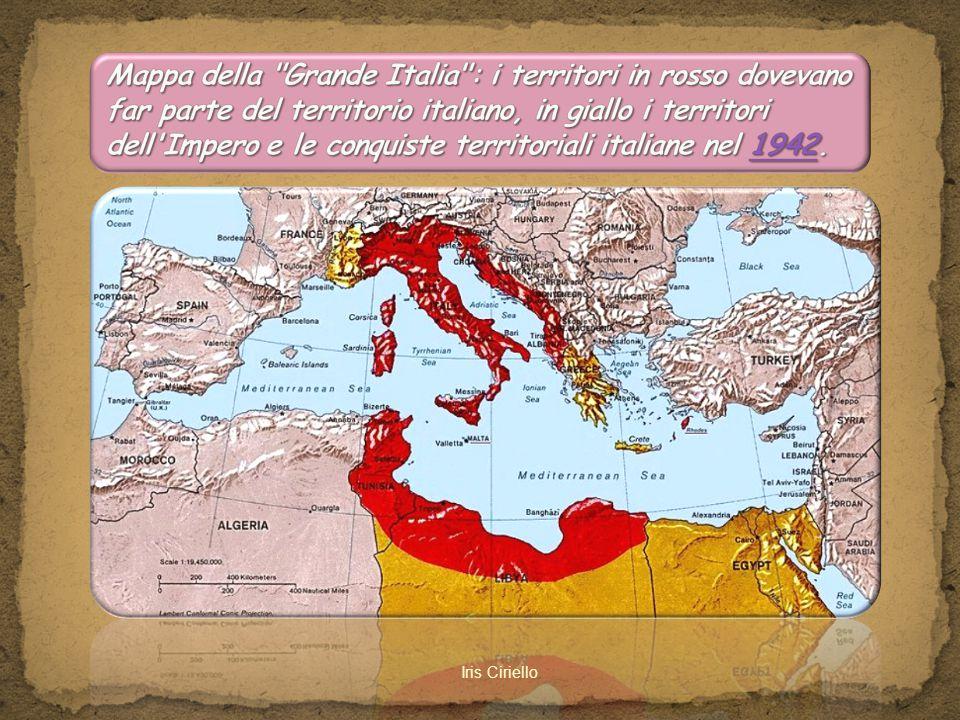 Mappa della Grande Italia : i territori in rosso dovevano far parte del territorio italiano, in giallo i territori dell Impero e le conquiste territoriali italiane nel 1942.