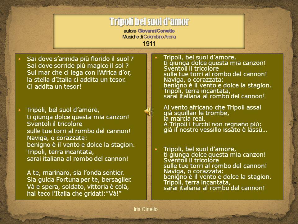 Tripoli bel suol d amor autore Giovanni Corvetto Musiche di Colombino Arona 1911