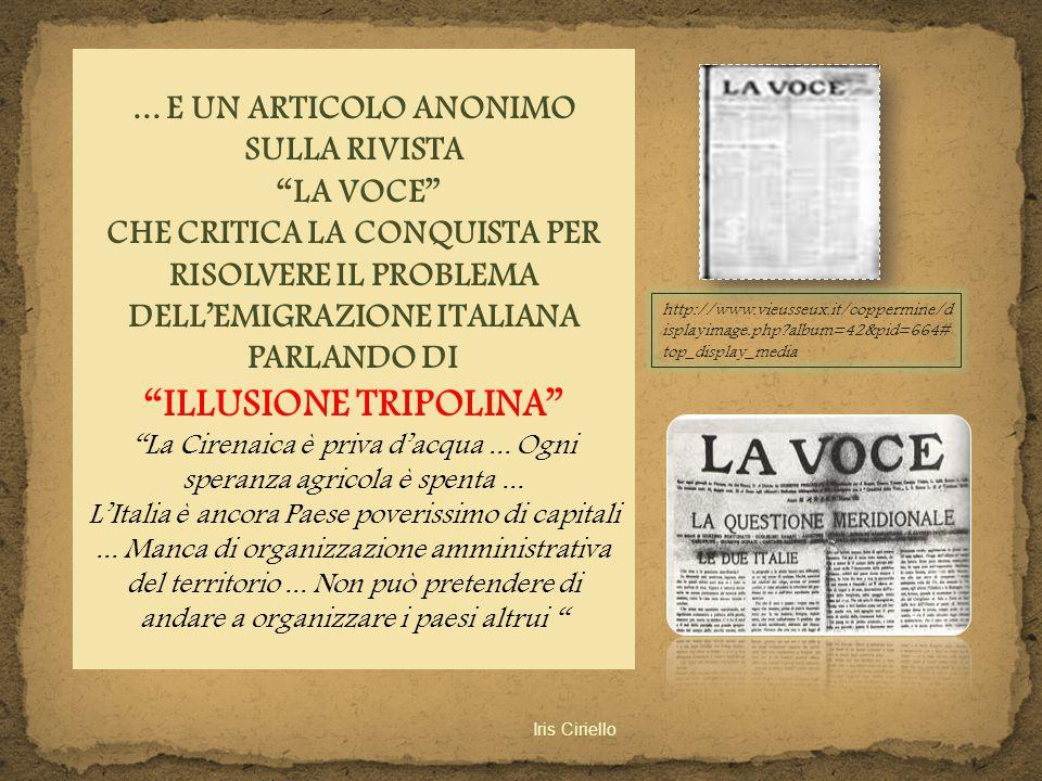 ... E UN ARTICOLO ANONIMO SULLA RIVISTA ILLUSIONE TRIPOLINA
