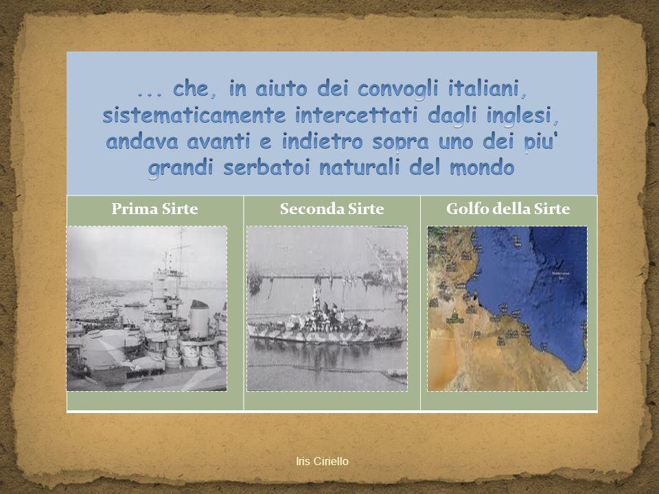 ... che, in aiuto dei convogli italiani, sistematicamente intercettati dagli inglesi, andava avanti e indietro sopra uno dei piu' grandi serbatoi naturali del mondo