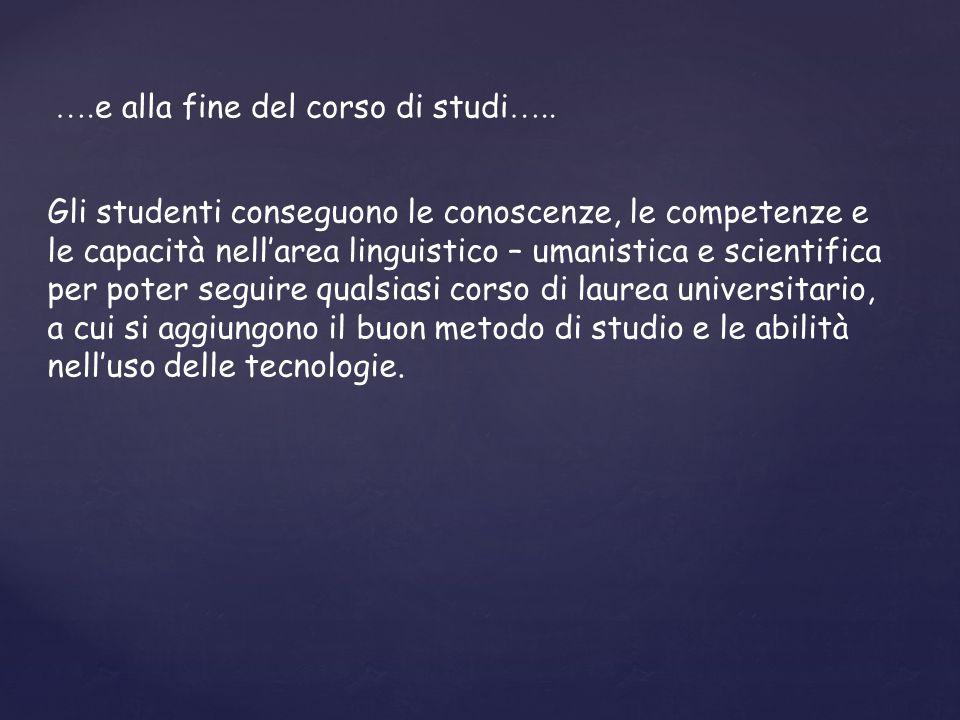 ….e alla fine del corso di studi…..