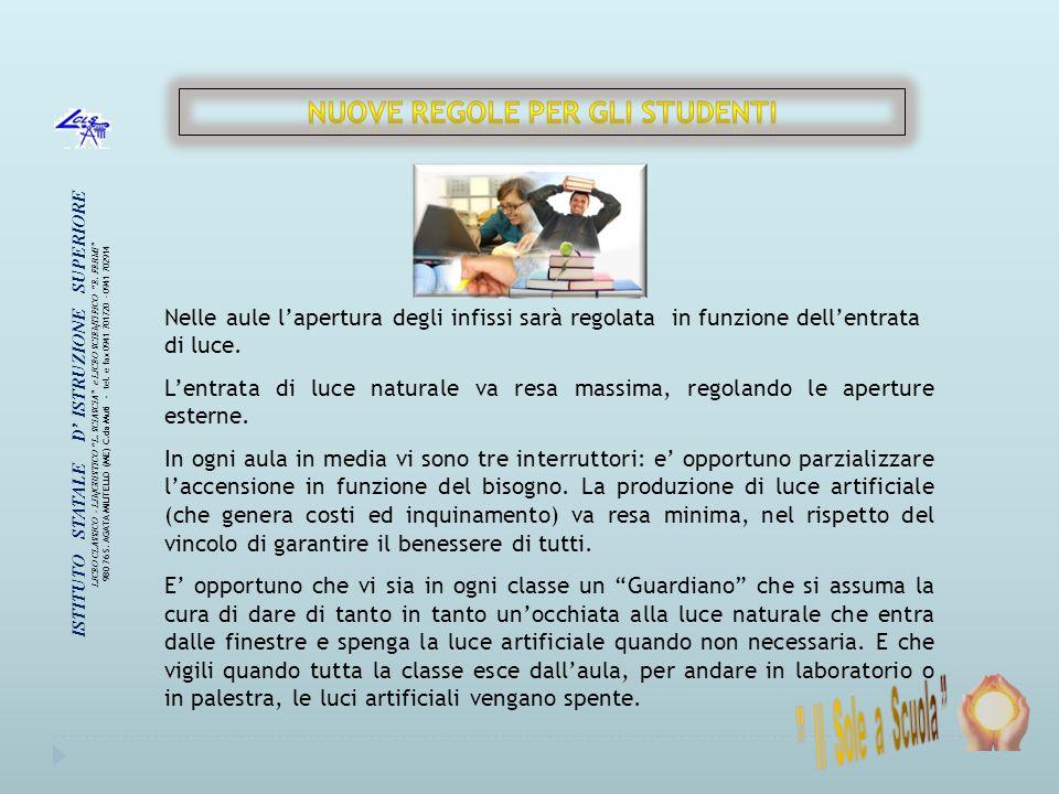 NUOVE REGOLE PER GLI STUDENTI ISTITUTO STATALE D' ISTRUZIONE SUPERIORE
