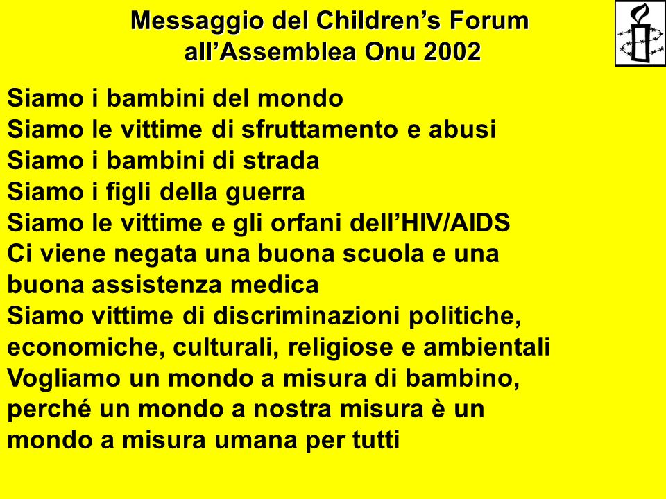 Messaggio del Children's Forum