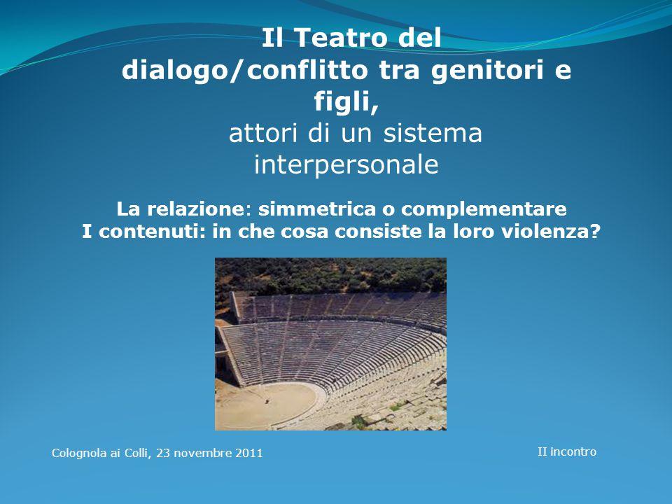 Il Teatro del dialogo/conflitto tra genitori e figli,