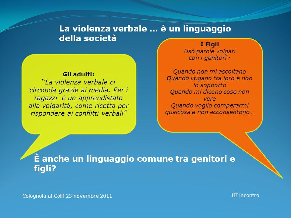 La violenza verbale … è un linguaggio della società
