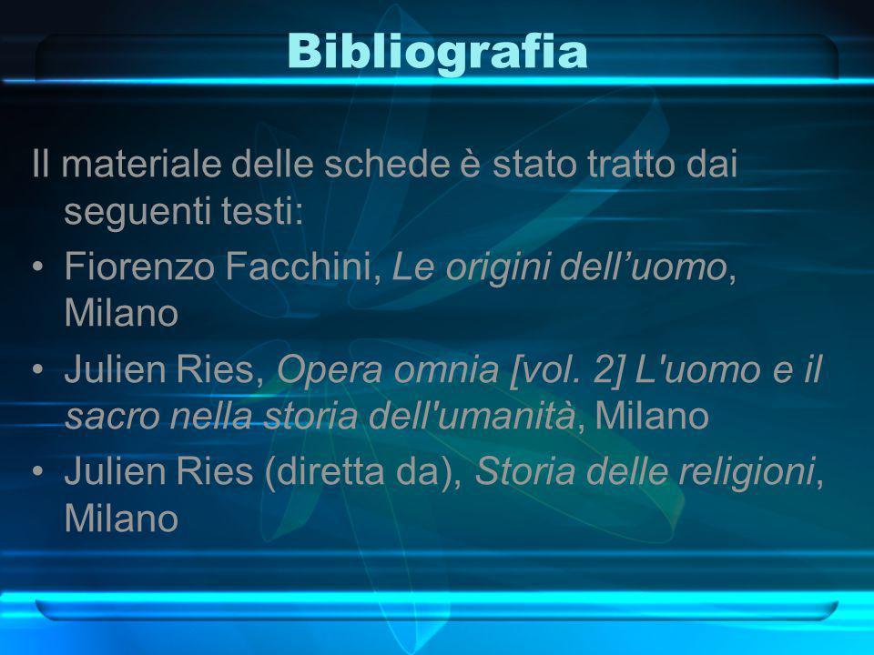Bibliografia Il materiale delle schede è stato tratto dai seguenti testi: Fiorenzo Facchini, Le origini dell'uomo, Milano.
