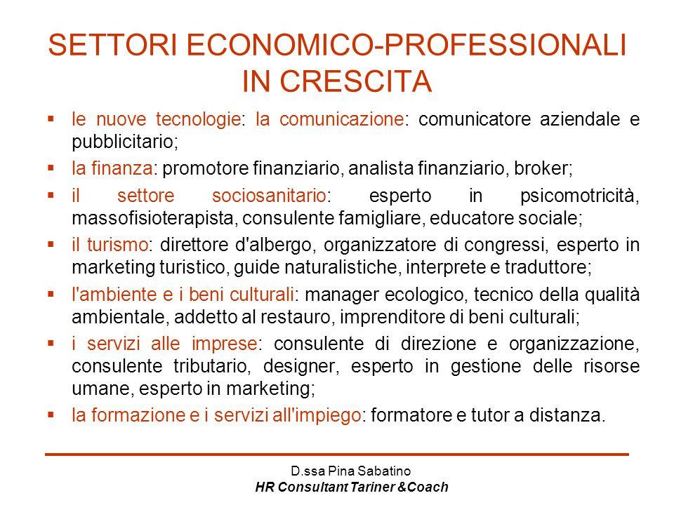 SETTORI ECONOMICO-PROFESSIONALI IN CRESCITA