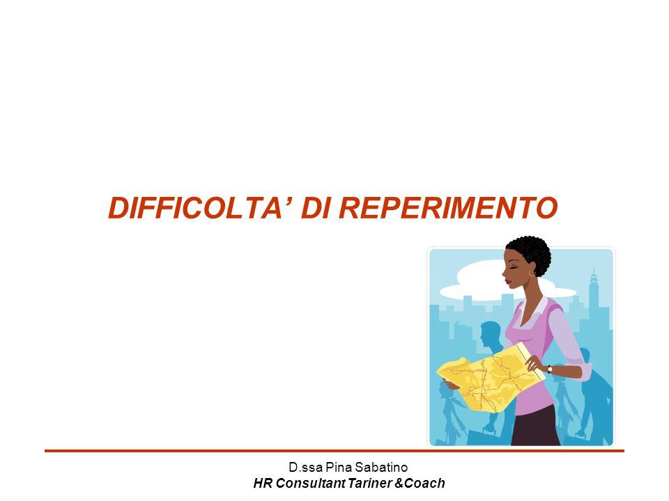 DIFFICOLTA' DI REPERIMENTO