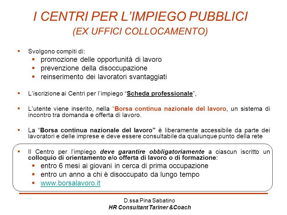I CENTRI PER L'IMPIEGO PUBBLICI (EX UFFICI COLLOCAMENTO)