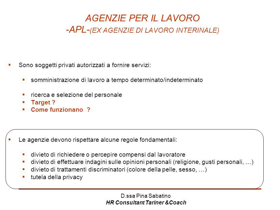 AGENZIE PER IL LAVORO -APL-(EX AGENZIE DI LAVORO INTERINALE)