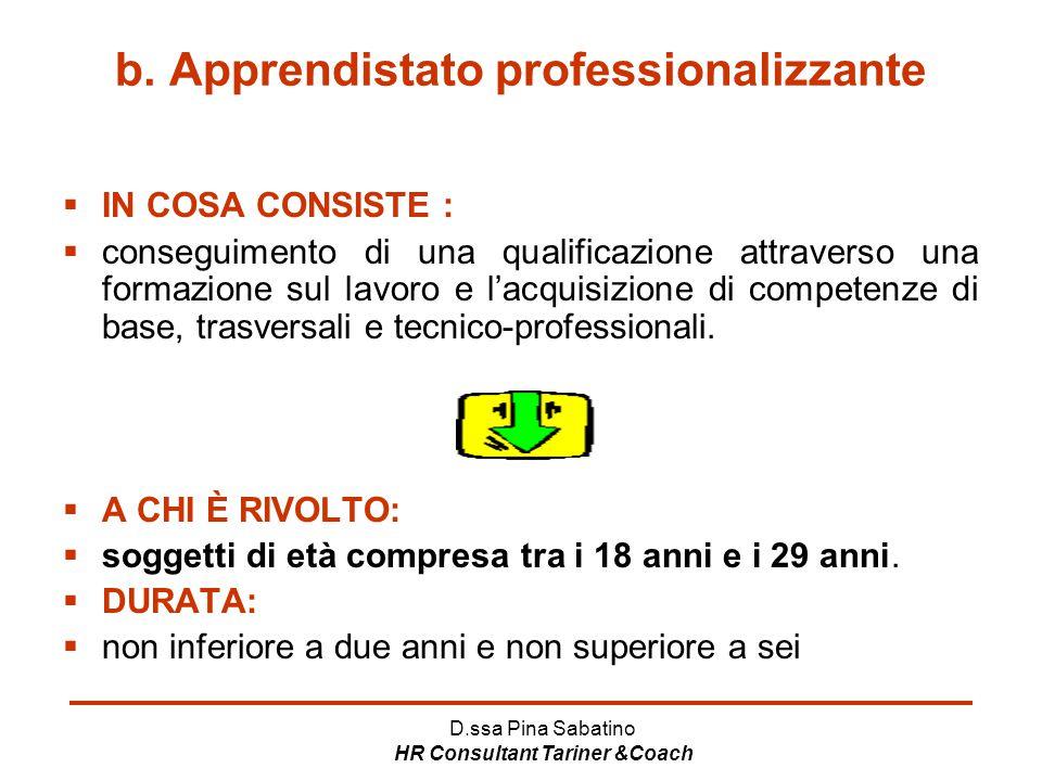 b. Apprendistato professionalizzante
