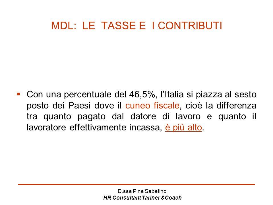 MDL: LE TASSE E I CONTRIBUTI