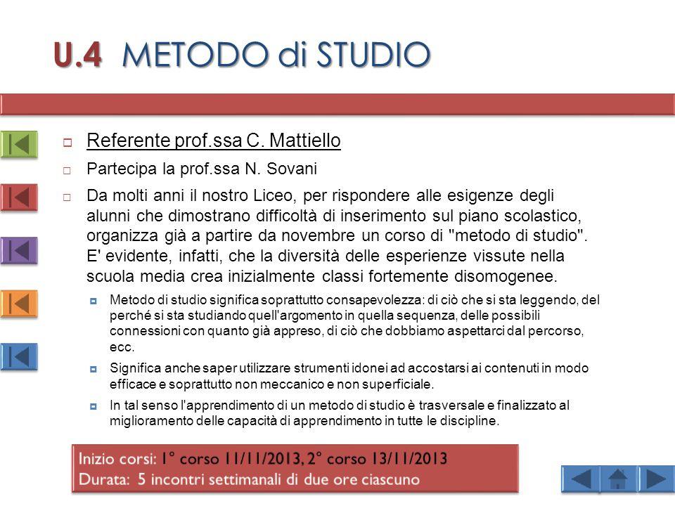 U.4 METODO di STUDIO Referente prof.ssa C. Mattiello