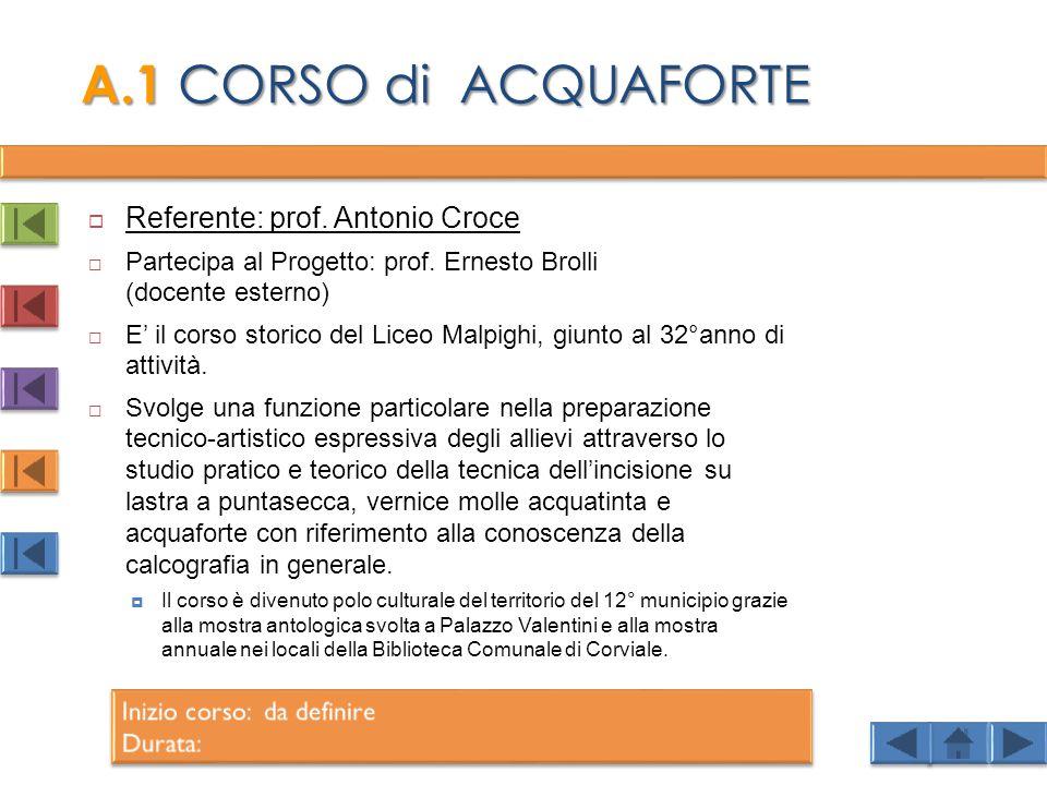 A.1 CORSO di ACQUAFORTE Referente: prof. Antonio Croce
